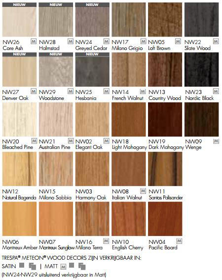 Trespa wood decors kleuren